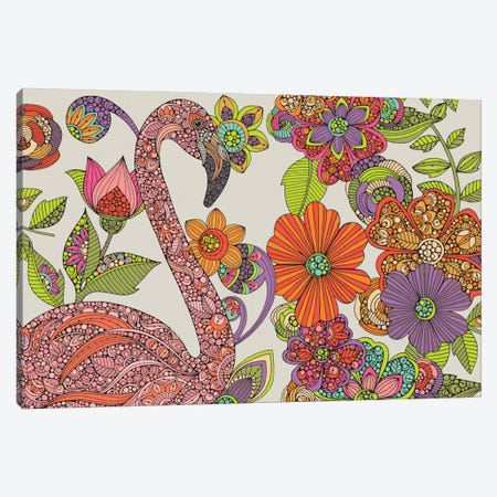 Flamingo Puzzle Canvas Print #VAL103} by Valentina Harper Canvas Artwork