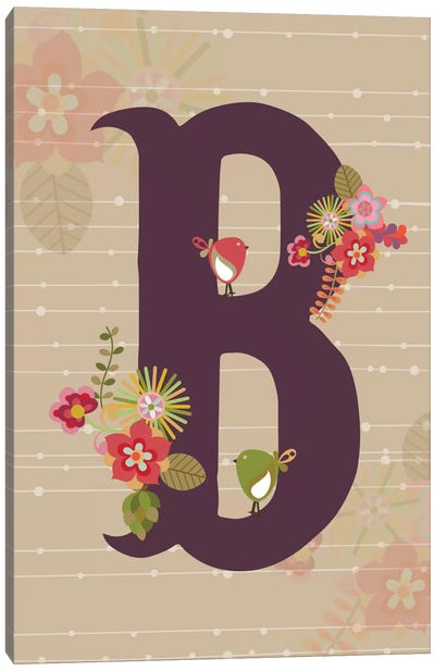Floral Alphabet Series: B Canvas Art Print