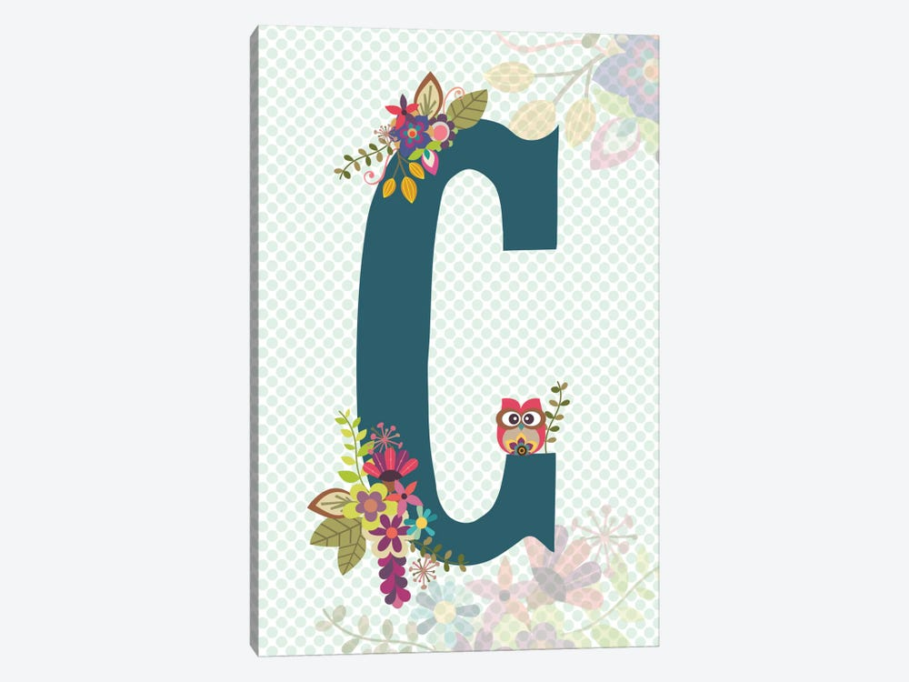 Floral Alphabet Series: C by Valentina Harper 1-piece Canvas Art