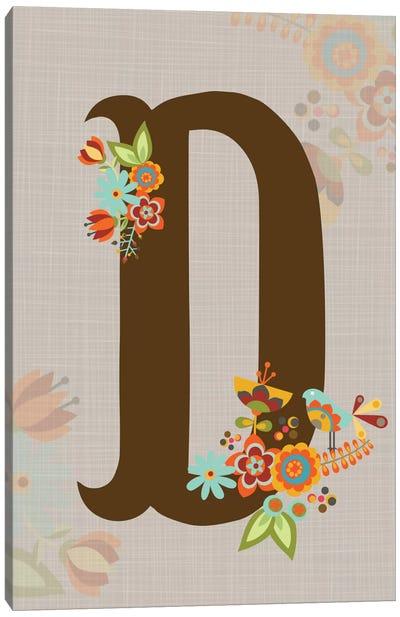 Floral Alphabet Series: D Canvas Print #VAL107