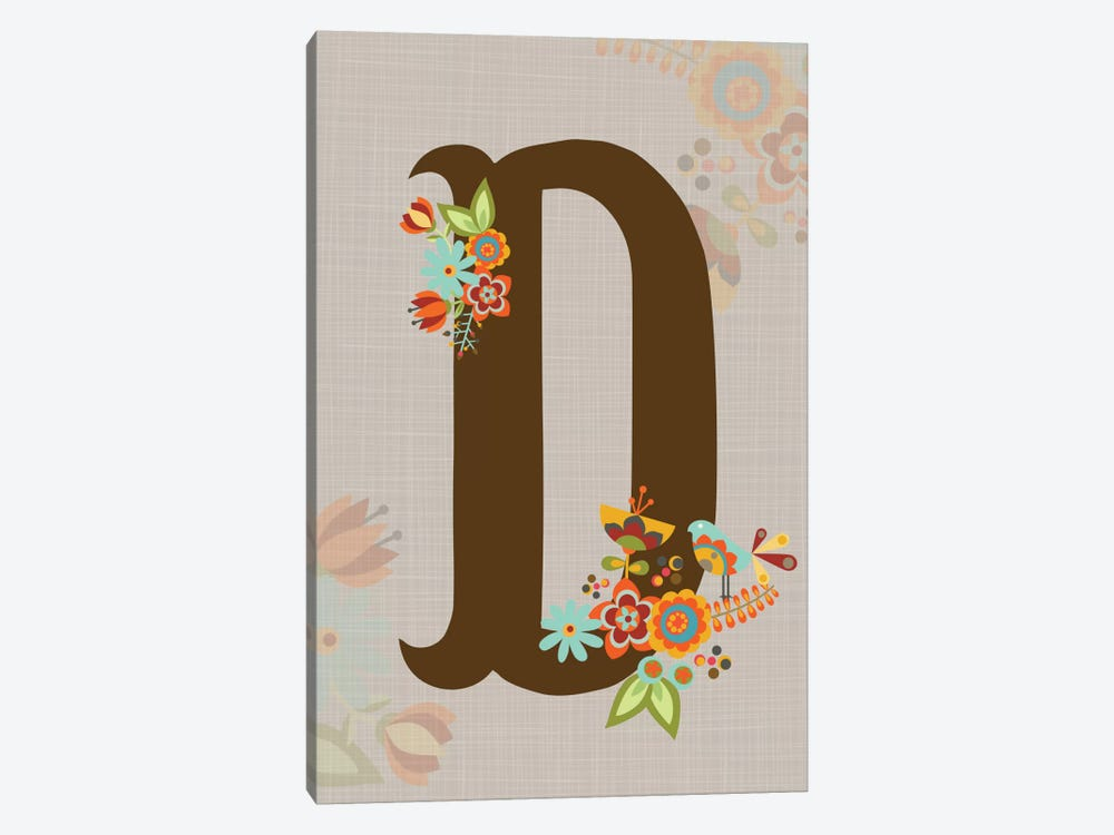 Floral Alphabet Series: D 1-piece Art Print