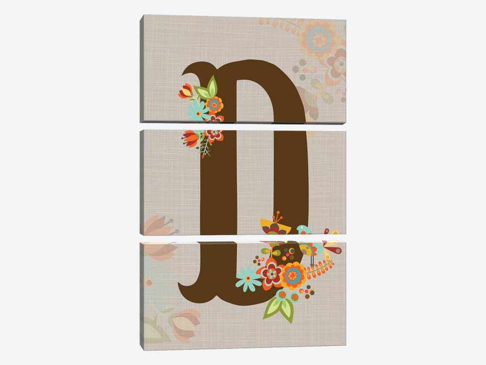 Floral Alphabet Series: D 3-piece Art Print