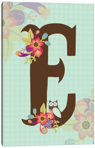 Floral Alphabet Series: E Canvas Print #VAL108