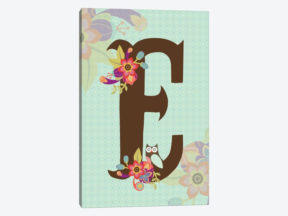Floral Alphabet Series: E by Valentina Harper 1-piece Canvas Art