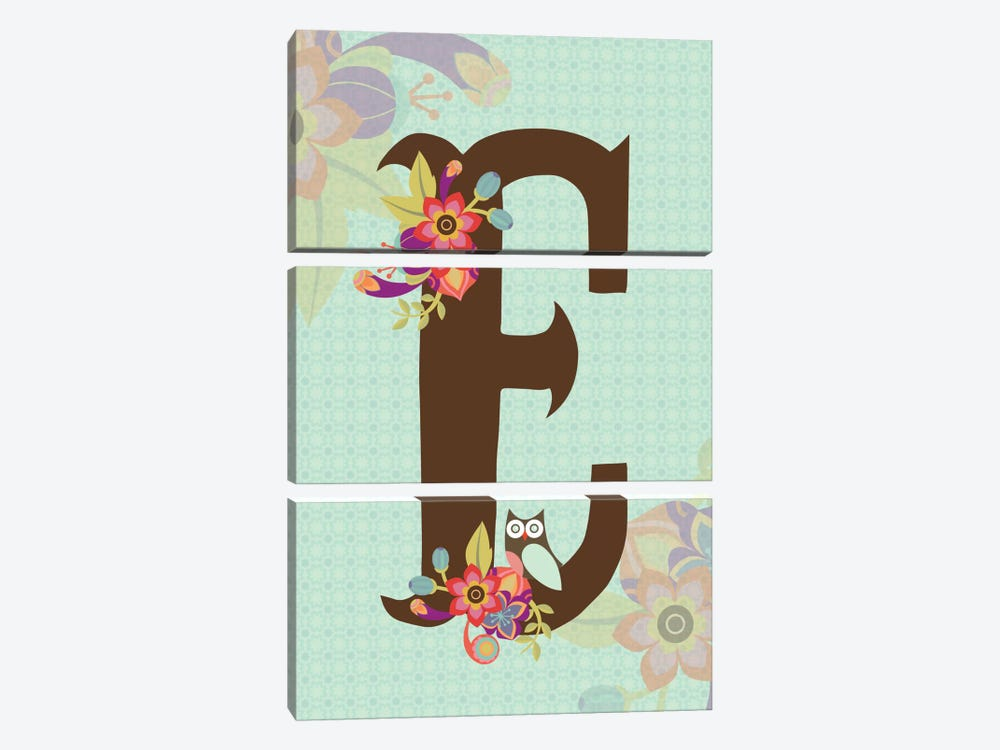 Floral Alphabet Series: E by Valentina Harper 3-piece Canvas Artwork