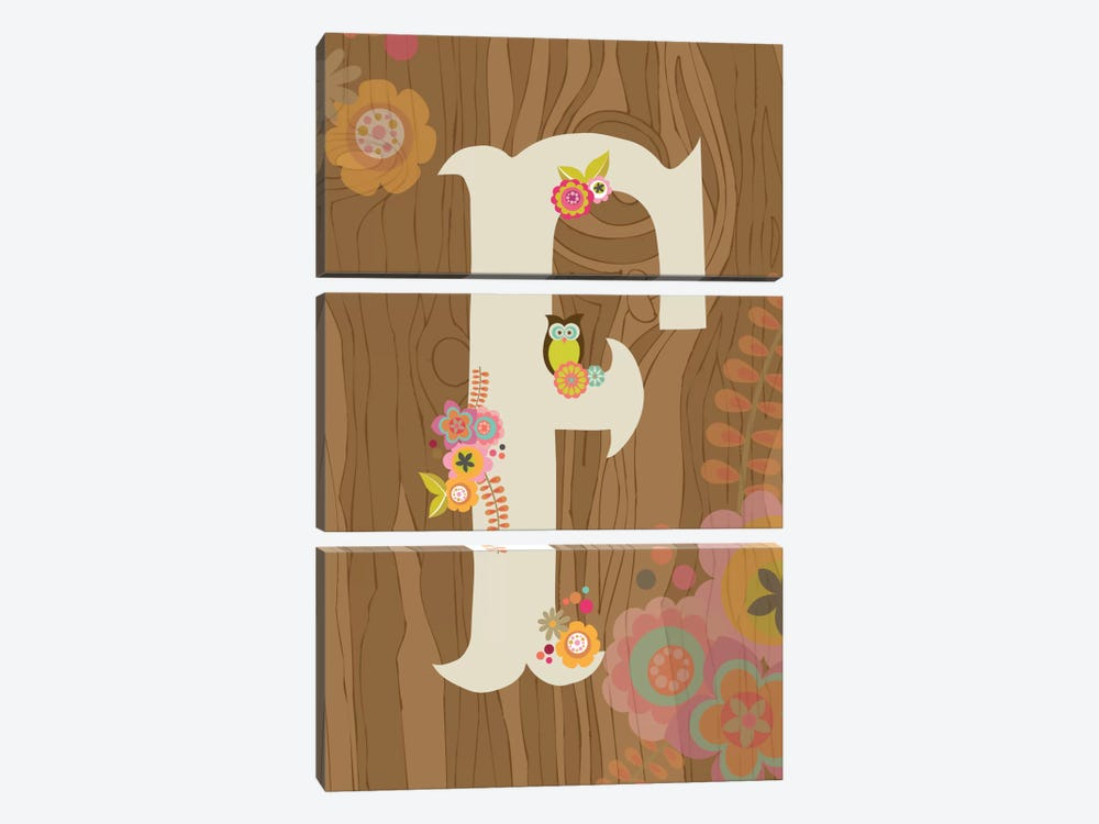 Floral Alphabet Series: F by Valentina Harper 3-piece Canvas Art Print