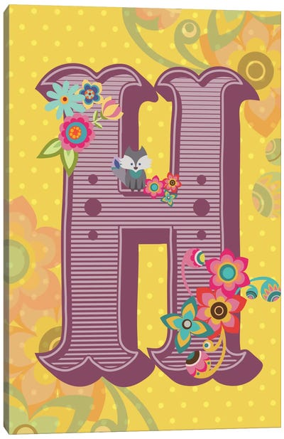 Floral Alphabet Series: H Canvas Art Print