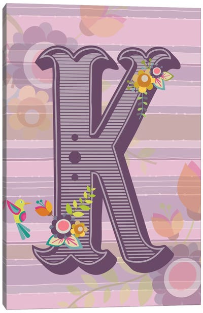 Floral Alphabet Series: K Canvas Art Print