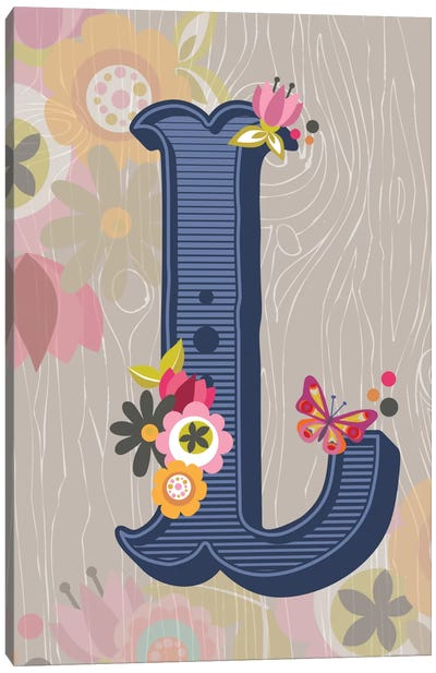 Floral Alphabet Series: L Canvas Art Print
