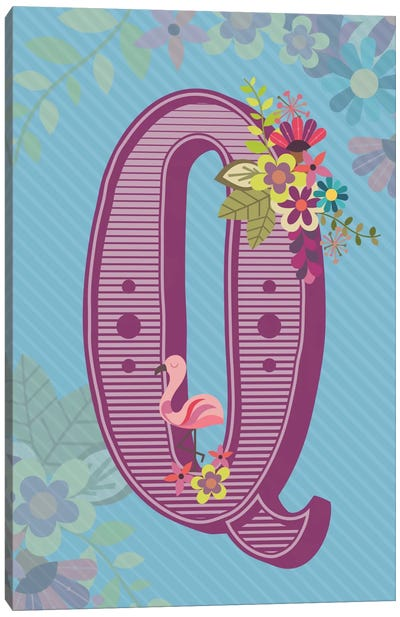 Floral Alphabet Series: Q Canvas Art Print