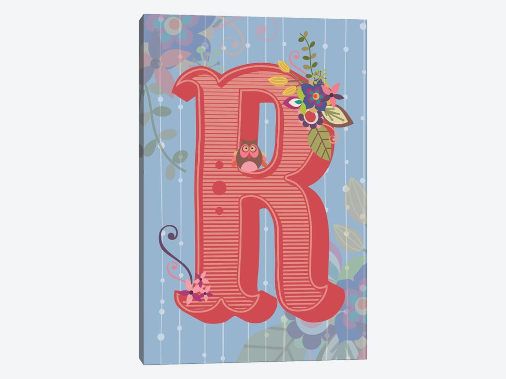 Floral Alphabet Series: R by Valentina Harper 1-piece Canvas Print