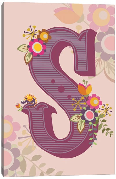 Floral Alphabet Series: S Canvas Art Print