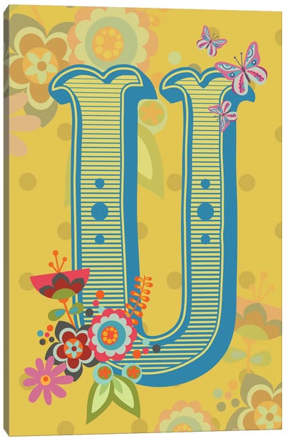 Floral Alphabet Series: U Canvas Art Print