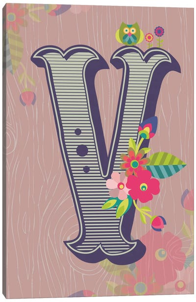 Floral Alphabet Series: V Canvas Art Print