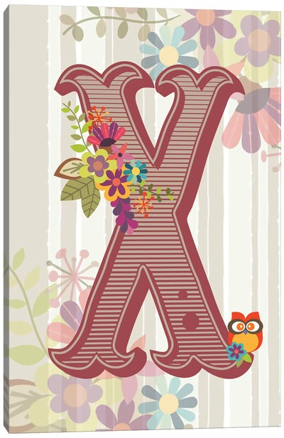 Floral Alphabet Series: X Canvas Art Print
