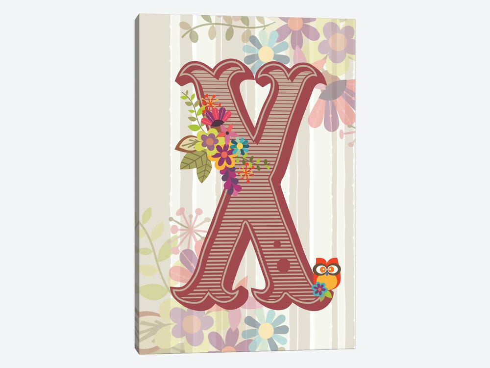 Floral Alphabet Series: X by Valentina Harper 1-piece Canvas Art Print