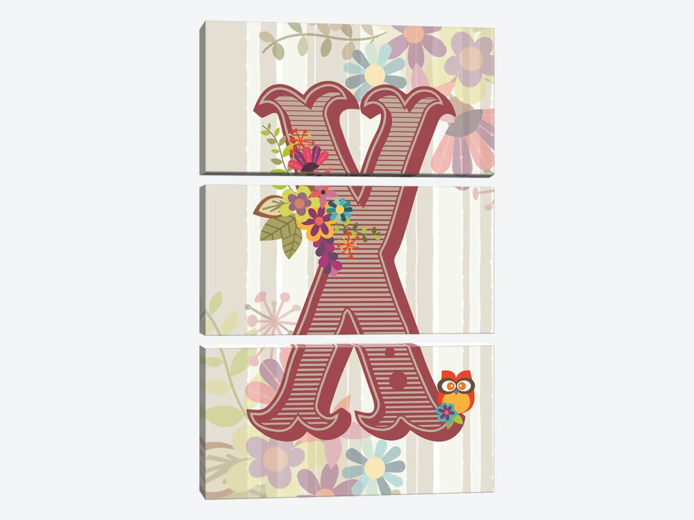 Floral Alphabet Series: X by Valentina Harper 3-piece Canvas Print