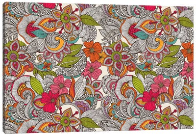 Flower Doodles In Color Canvas Print #VAL133