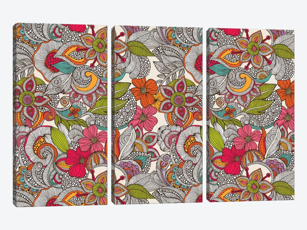 Flower Doodles In Color by Valentina Harper 3-piece Canvas Art