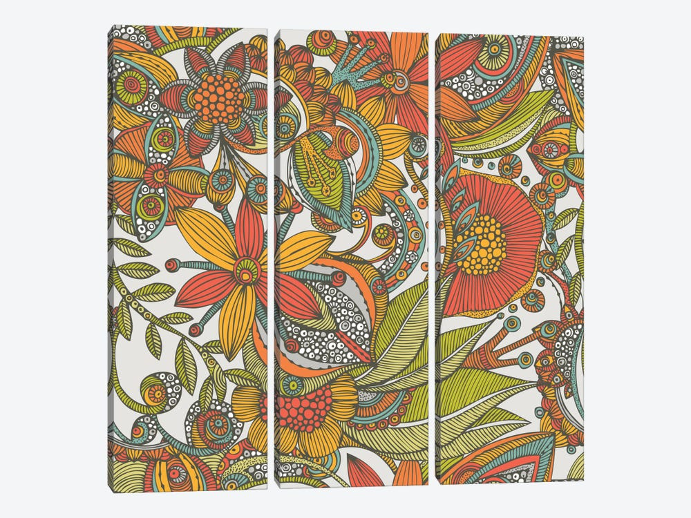 Flowers And Doodles I by Valentina Harper 3-piece Canvas Print