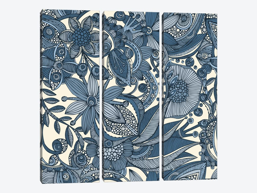 Flowers And Doodles II by Valentina Harper 3-piece Canvas Wall Art