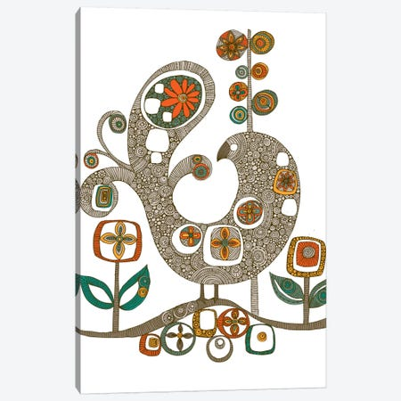 Folk Bird Canvas Print #VAL154} by Valentina Harper Canvas Wall Art