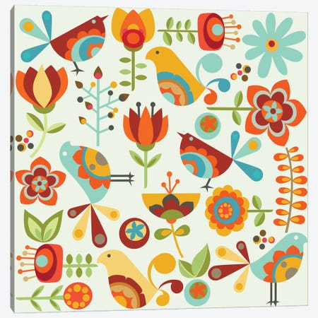 Folk Birds Canvas Print #VAL155} by Valentina Harper Canvas Artwork