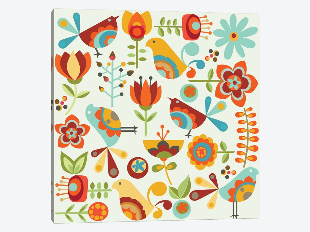 Folk Birds by Valentina Harper 1-piece Canvas Wall Art