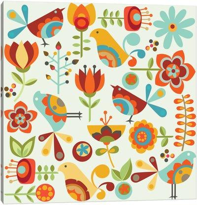 Folk Birds Canvas Art Print