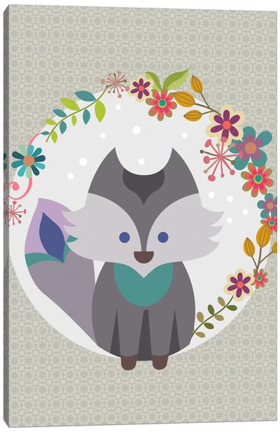 Grey Litle Fox Canvas Art Print