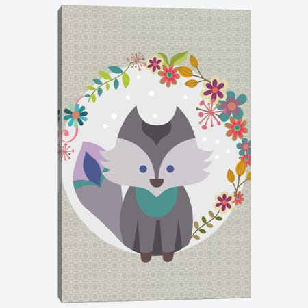 Grey Litle Fox Canvas Print #VAL174} by Valentina Harper Canvas Wall Art