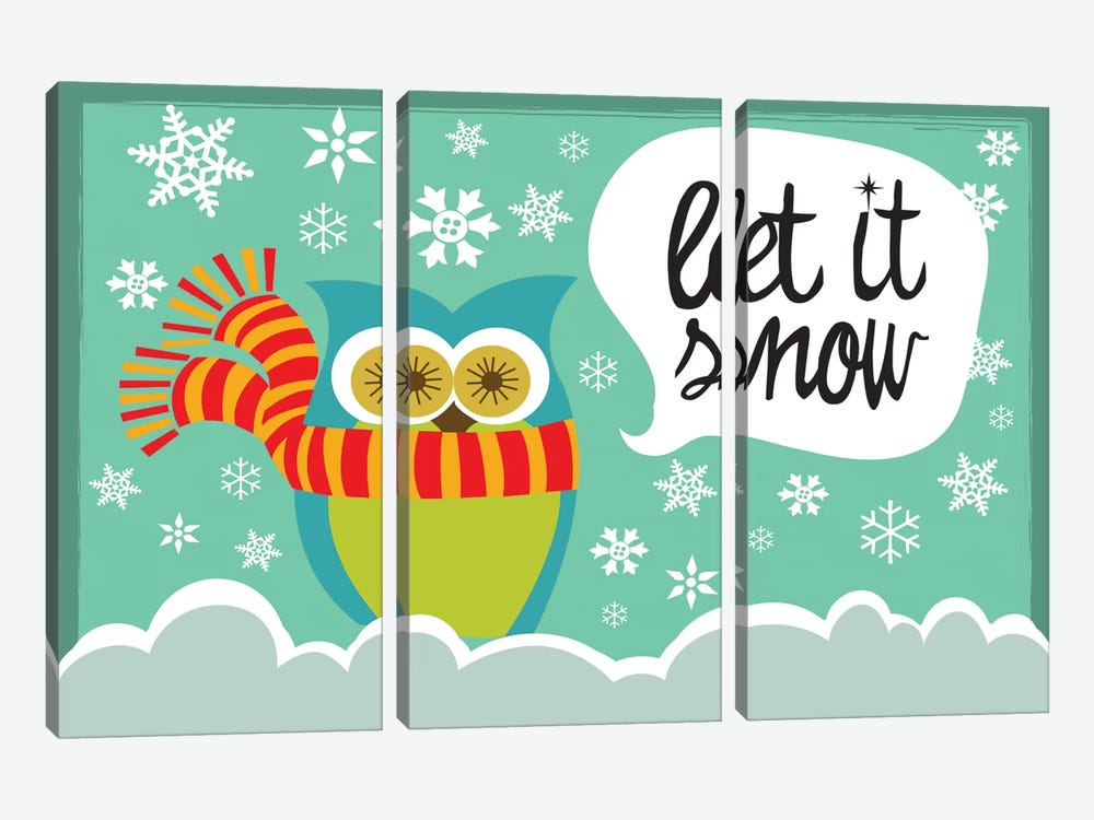 Let It Snow I by Valentina Harper 3-piece Canvas Art