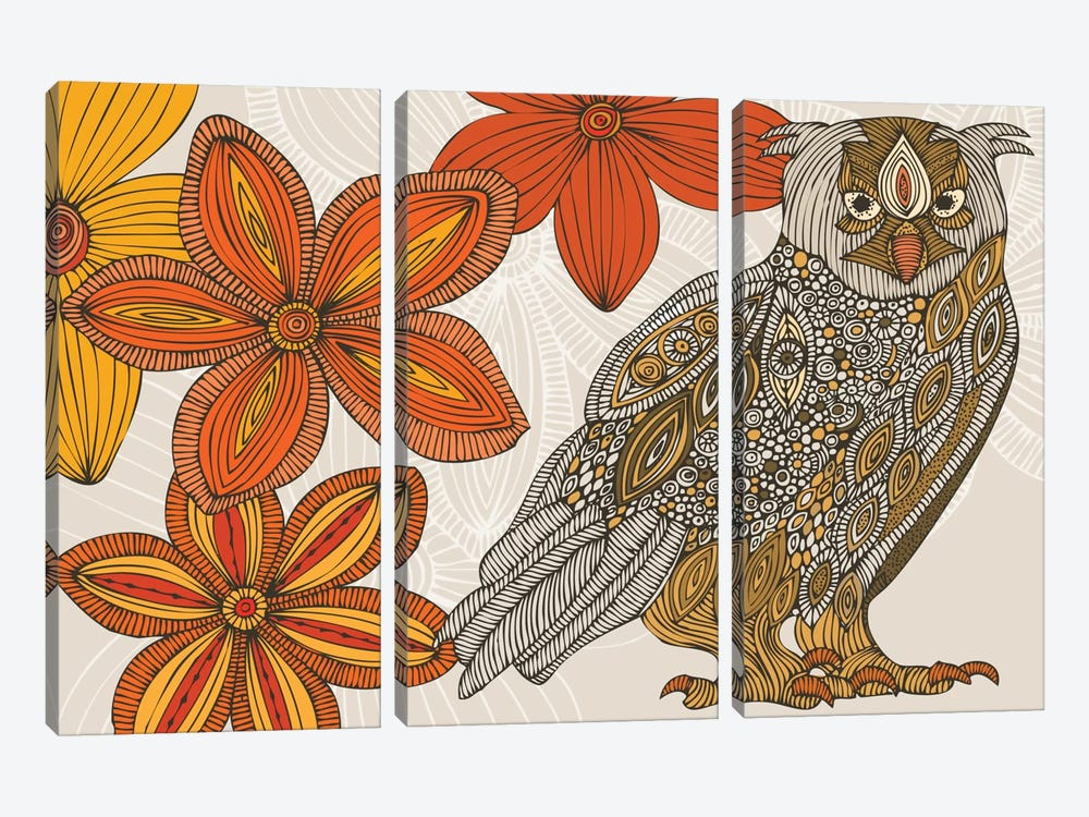 Matt The Owl by Valentina Harper 3-piece Canvas Print