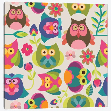 Owls And Flowers I Canvas Print #VAL302} by Valentina Harper Canvas Artwork