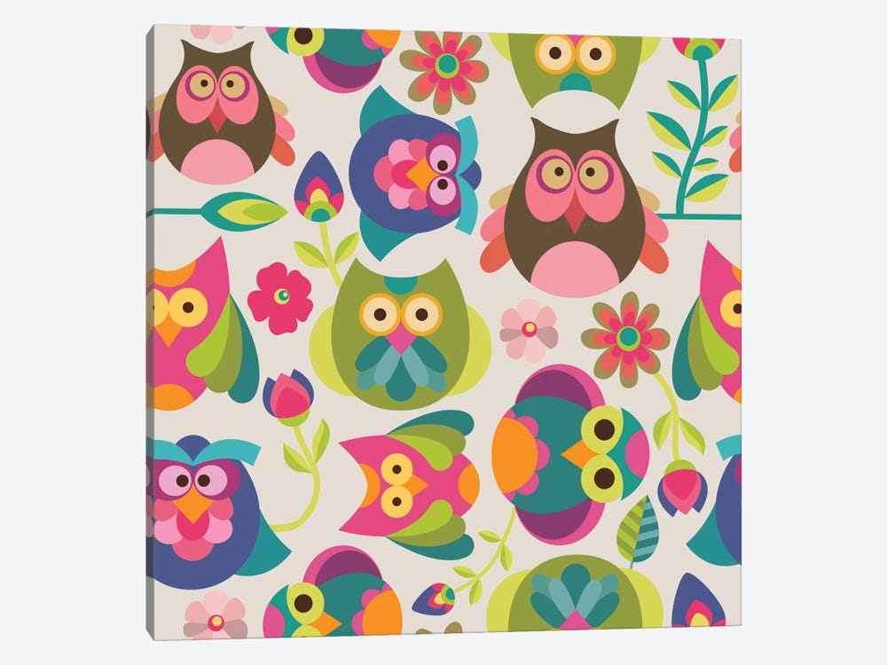 Owls And Flowers I by Valentina Harper 1-piece Canvas Art Print