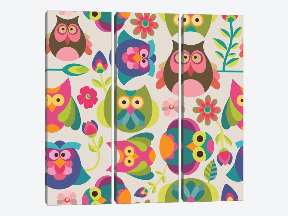 Owls And Flowers I by Valentina Harper 3-piece Canvas Art Print