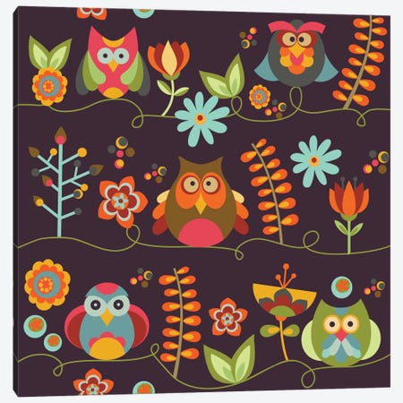 Owls And Flowers II Canvas Print #VAL303} by Valentina Harper Canvas Art