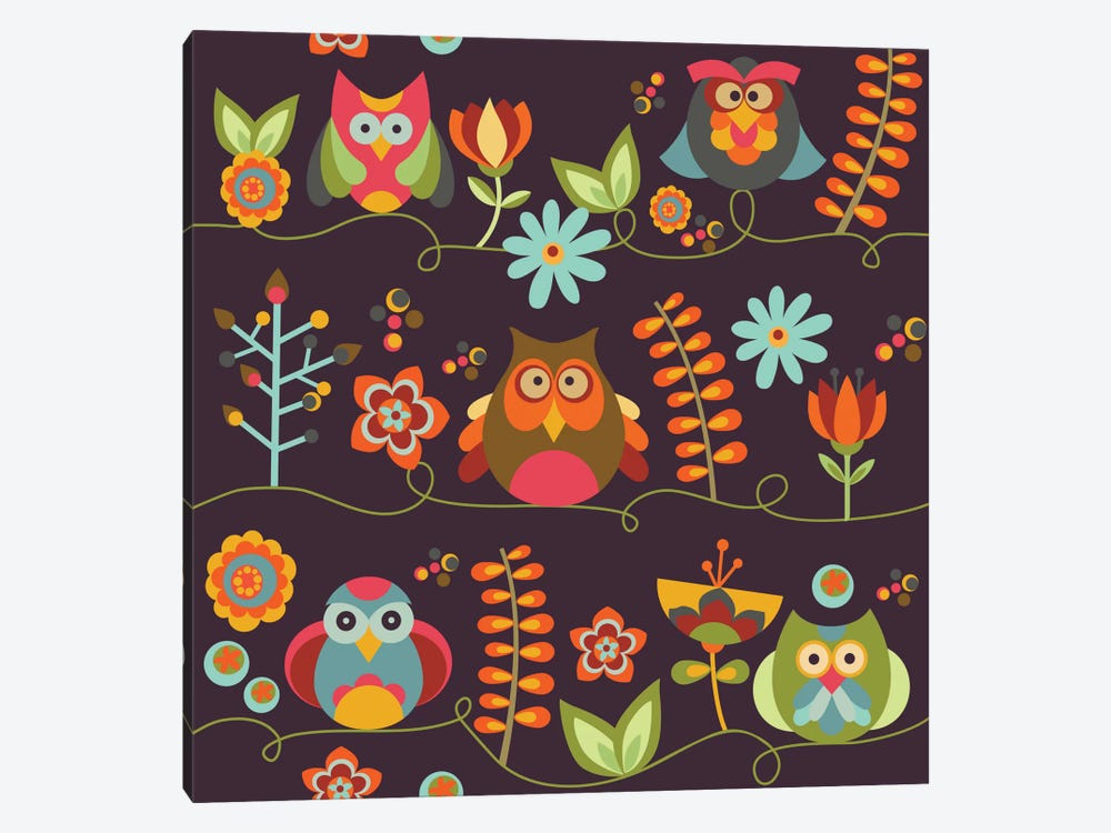 Owls And Flowers II by Valentina Harper 1-piece Canvas Artwork