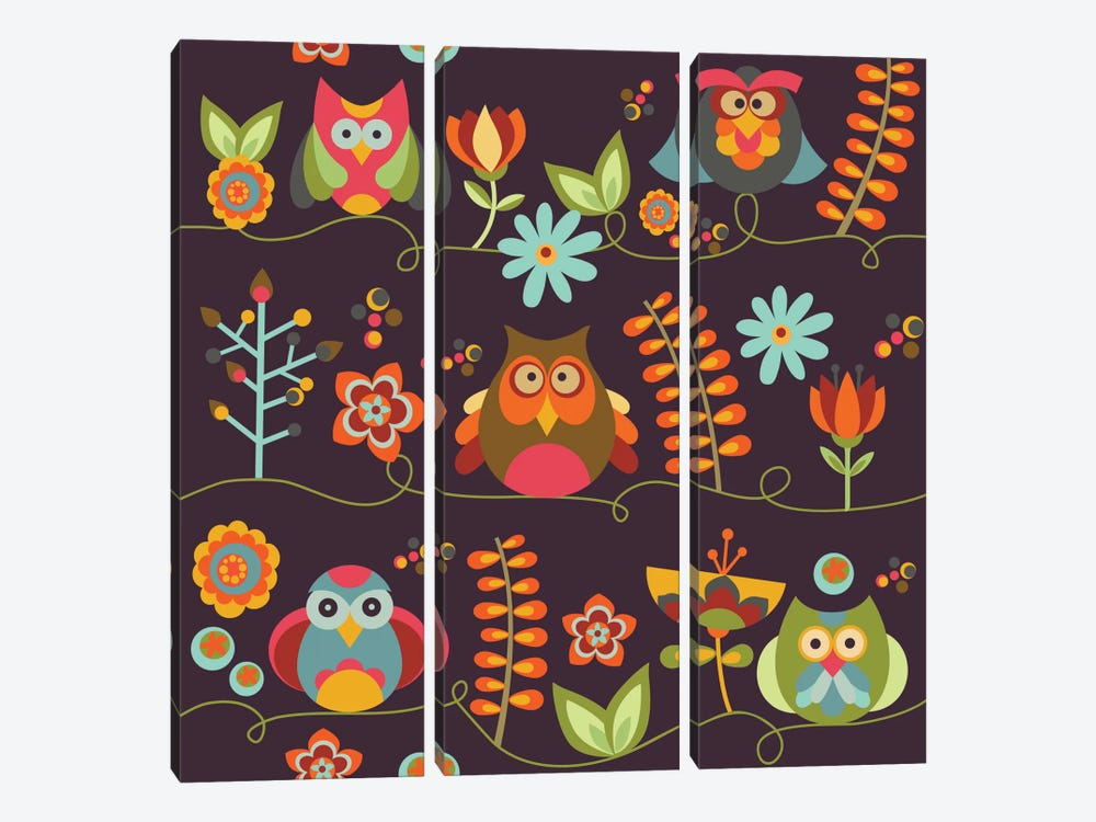 Owls And Flowers II by Valentina Harper 3-piece Canvas Artwork