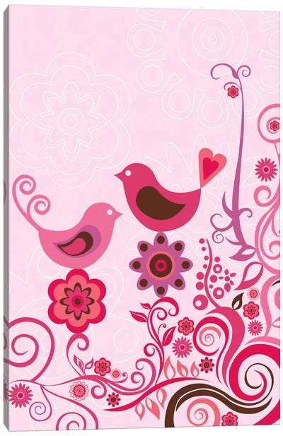 Pink Birds And Ornaments Canvas Print #VAL317