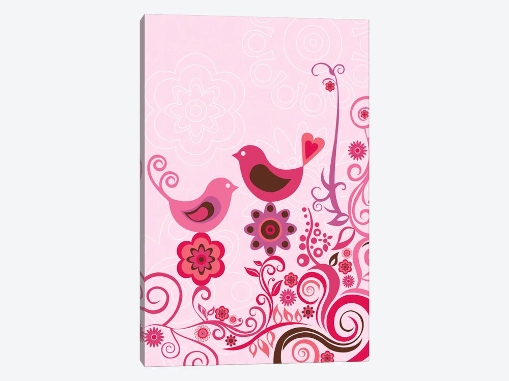 Pink Birds And Ornaments by Valentina Harper 1-piece Canvas Print