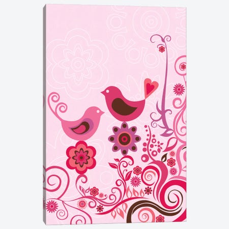 Pink Birds And Ornaments Canvas Print #VAL317} by Valentina Harper Canvas Art