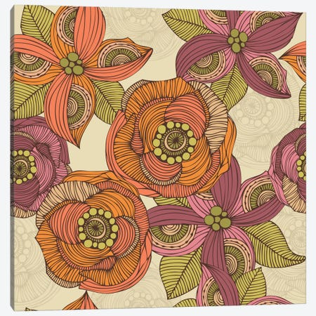 Purple And Orange Flowers Canvas Print #VAL323} by Valentina Harper Canvas Wall Art