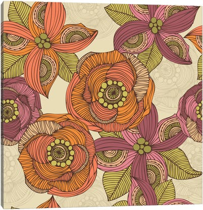 Purple And Orange Flowers Canvas Art Print
