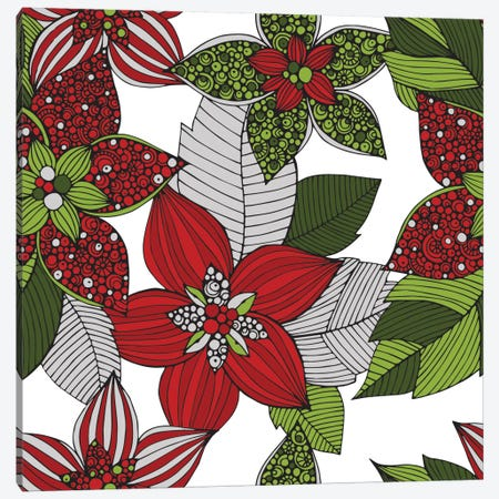 Red And Green Flowers Canvas Print #VAL327} by Valentina Harper Canvas Art Print