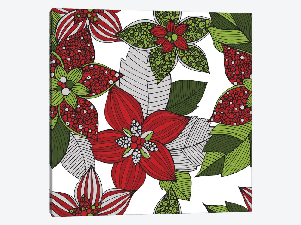 Red And Green Flowers by Valentina Harper 1-piece Canvas Artwork
