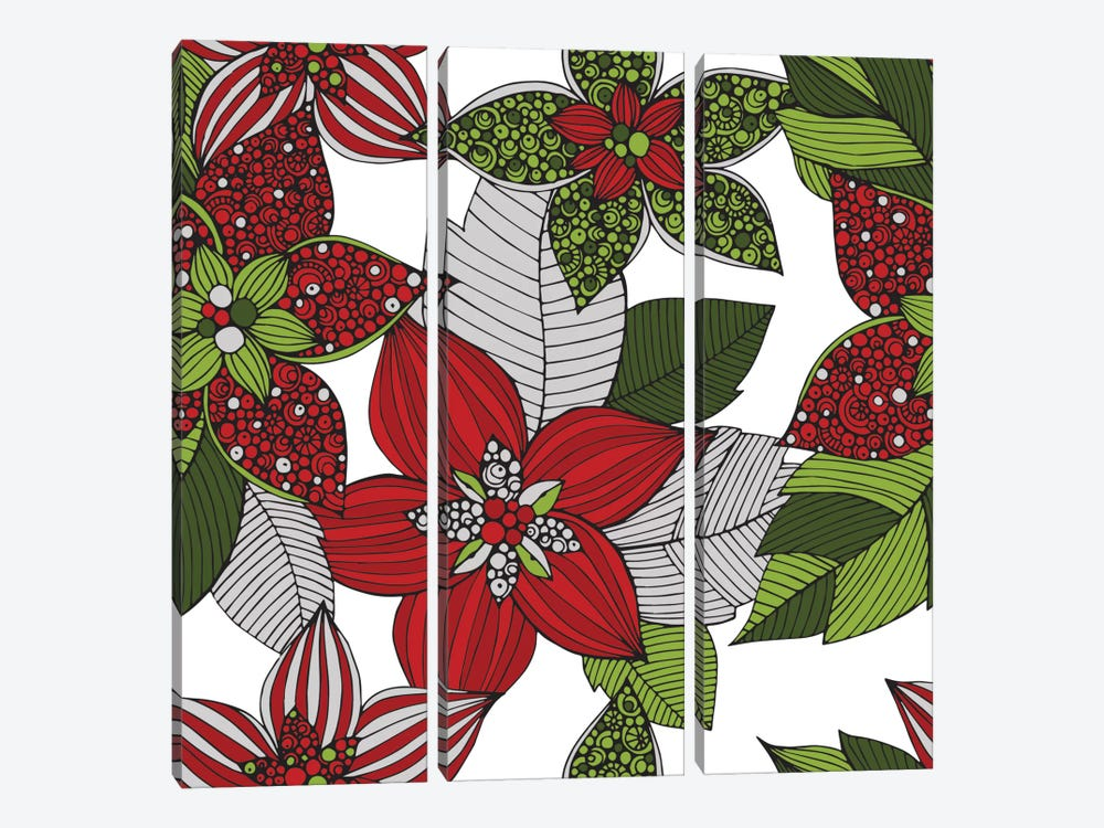 Red And Green Flowers by Valentina Harper 3-piece Canvas Wall Art