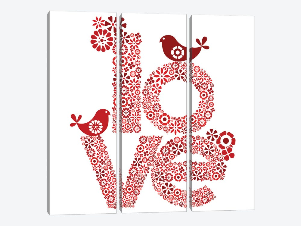 Red Love by Valentina Harper 3-piece Canvas Artwork