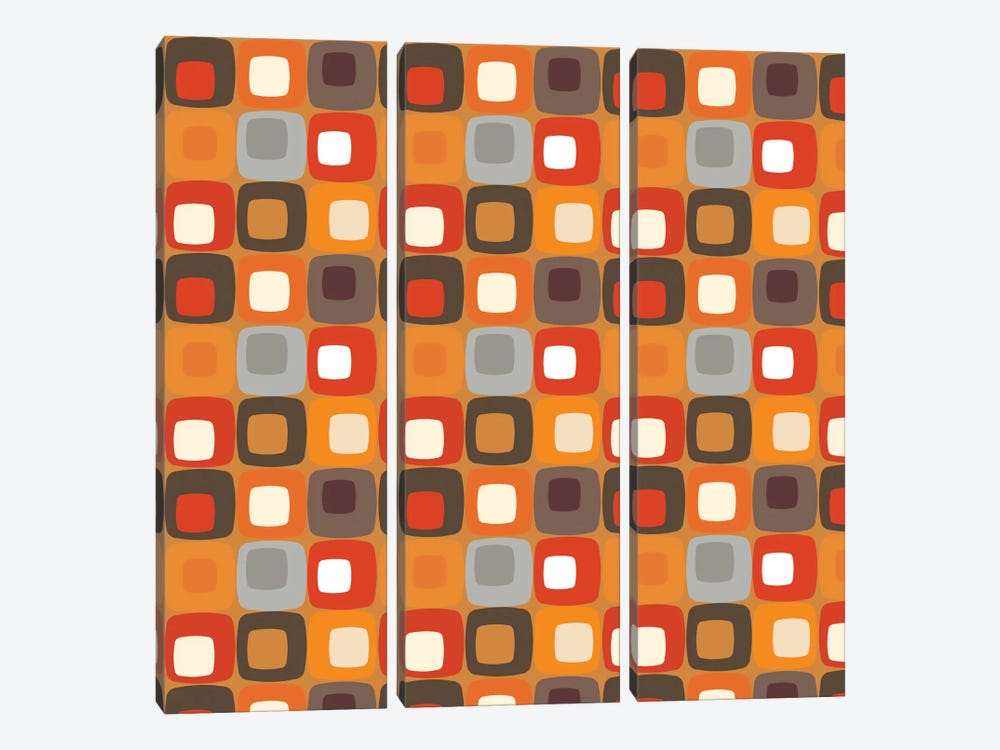 Retro Squares I by Valentina Harper 3-piece Canvas Print