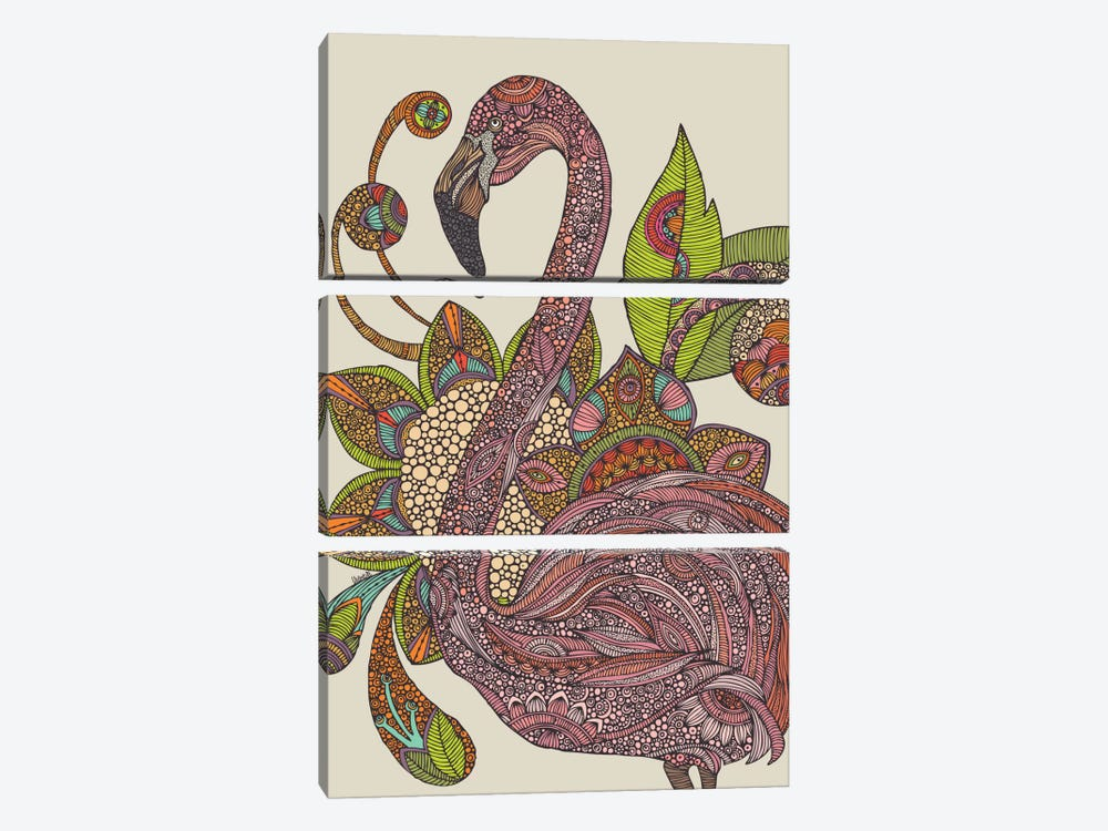 Royal Flamingo by Valentina Harper 3-piece Canvas Print